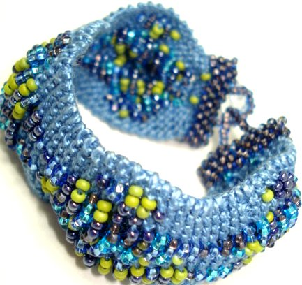 Crochet Crystal Beaded Wavy Bracelet Blue Stretch Bracelet