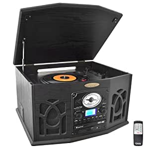 Pyle Home PTCDS7UIB Retro Vintage Turntable with CD/MP3/Casette/Radio/USB/SD, Aux-In and Vinyl-to-MP3 Encoding (Black)