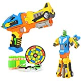 4in Love Me Transformation Robot Cap Guns Blaster+Safety Goggles+Mini Bandolier+Target Toy For Toddler Kids(Colors...