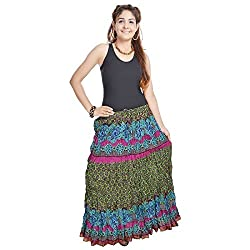 Kiran Udyog Jaipuri Multi Color Pure Cotton Skirt 557