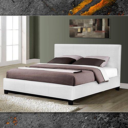 miami weiss doppelbett polsterbett 140x200cm bettgestell bett lattenrost. Black Bedroom Furniture Sets. Home Design Ideas