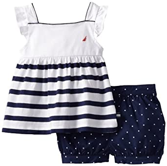 Nautica Baby-girls Infant 2 Piece Dot Set, Medium Navy, 24 Months