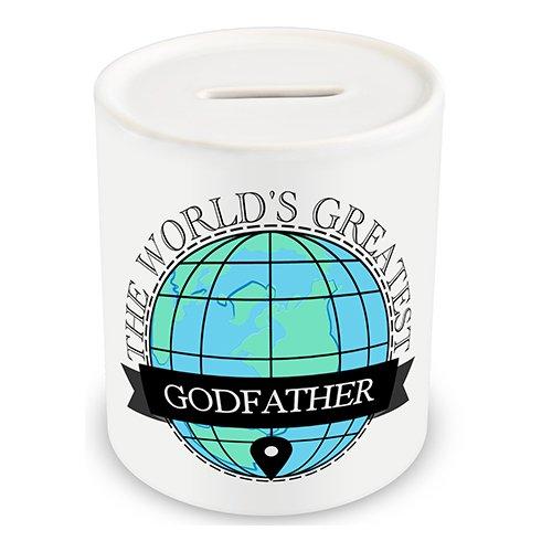 World's Greatest Godfather Spardose Globus Weltkugel (entscheiden, personalisierbar mit Namen, Spruch oder photo, 5 x Farbe), personalisierbar, für Tee und Kaffee Geschenkbox
