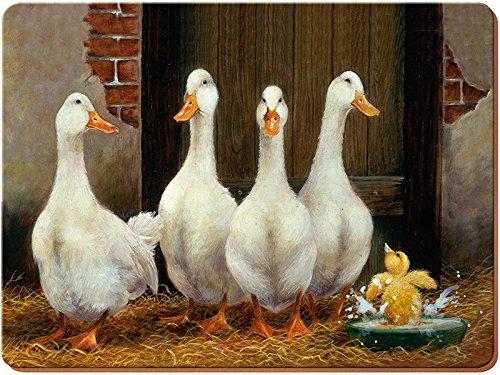 Creative Tops-Anatra bagno tovagliette all'americana in sughero, legno, marrone, grande, 4 pezzi