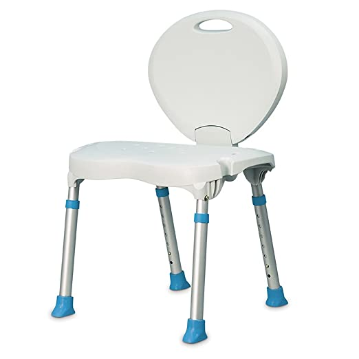AquaSense Folding Bath and Shower Seat with Non-Slip Seat and Backrest, White