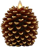 """Luminara Pine Cone Candles: 3.5"""" x 4"""" Unscented, Battery Operated, Luminara Flameless Candles with Timer (Brown)"""