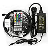 SUPERNIGHT (TM) 16.4ft 5M Waterproof Flexible strip 300leds Color Changing RGB SMD5050 LED Light Strip Kit RGB 5M +44Key Remote+12V 5A Power Supply