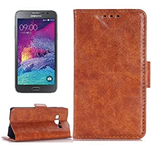 Crazy4Gadget Oil Skin Texture Horizontal Flip Leather Case with Card Slots & Wallet & Holder for Samsung Galaxy Grand Max/G7200(Brown)