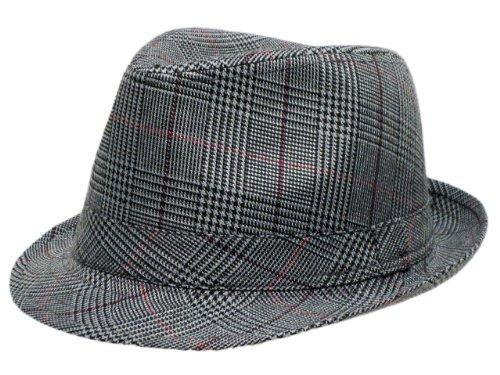 Mens Prince Of Wales Tweed Trilby Fedora Hat in Grey