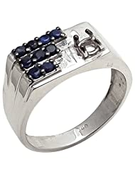 925 Sterling Silver Natural Blue Sapphire Gemstone 's Ring For Men