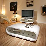 FREE FAST DELIVERY!!NEW ARRIVAL!!!MASSIVE 120CM WIDE EDGE CURVE GLOSS WHITE COFFEE TABLE#LIMITED STOCK#