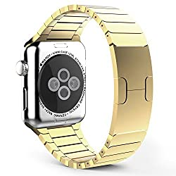 Apple Watch Band, MoKo Stainless Steel Replacement Smart Watch Band Link Bracelet with Double Button Folding Clasp for 42mm Apple Watch All Models - GOLDEN (Not Fit iWatch 38mm Version 2015)