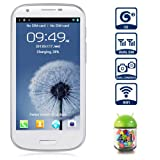 Unlocked Quadband Dual Sim Android 4.1 OS With 4.7 Inch Capacitive Touch Screen 3G Smart Phone - AT&#038;T, T-mobile, H20, Simple mobile and other GSM networks (White)