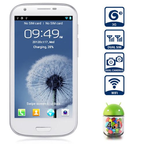 Unlocked Quadband Dual Sim Android 4.1 OS With 4.7 Inch Capacitive Touch Screen 3G Smart Phone – AT&T, T-mobile, H20, Simple mobile and other GSM networks (White)