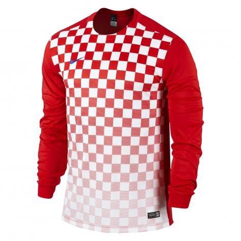 Nike Long Sleeve Top Precision Iii Jersey, Uomo, Jersey Precision III LS, rosso/bianco, M