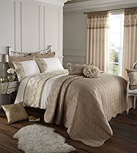 "Carolina Cream Beige Sequins 66"" X 72"" Pencil Pleat Lined Curtains #lrahc *tur*"