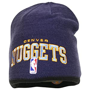 NBA adidas Denver Nuggets Authentic Team Reversible Knit Beanie - Navy Blue Black by adidas