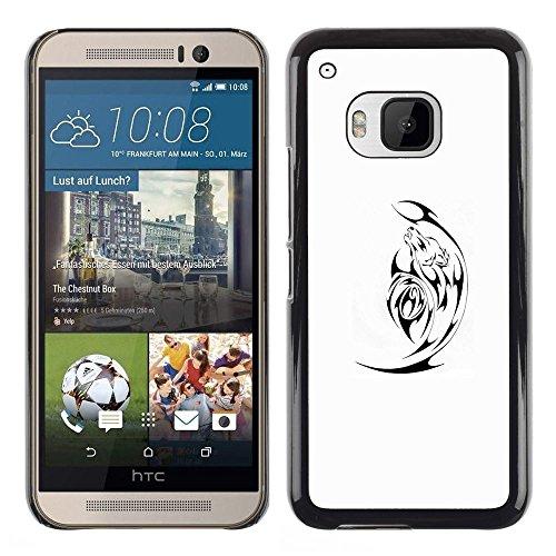 For HTC One M9 , S-type® Black Minimalist White Satan - Art & Design plastica dura Guscio Protettivo Cassa Cover