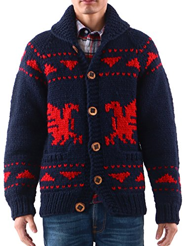 (カナタ) Kanata カウチン ニット セーター メンズ ニット カーディガン ブランド 手編み カナダ レッド / L