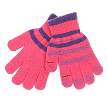 Women's Texting Gloves (Gripper Palm, Stretch Fit) - Hot Pink