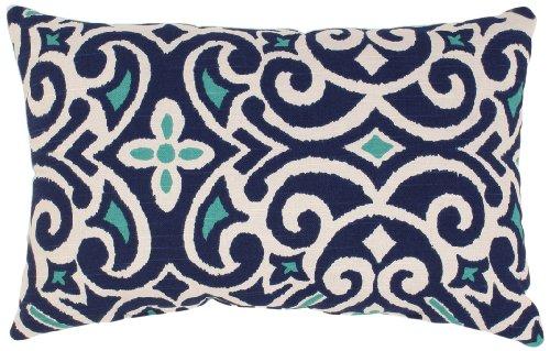 Pillow Perfect Blue/White Damask Rectangular Throw Pillow