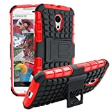 Hot New Motorola G2 Anti-slip Case Shock Absorbing Dual Layer Hybrid Bumper Cover Kickstand Case for Motorola G2 (Red)