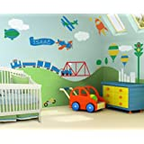 Kids / Nursery Wall Mural Self-adhesive Stencil Kit - Boys Room Transportation Theme - Trains, Airplanes, Cars and More