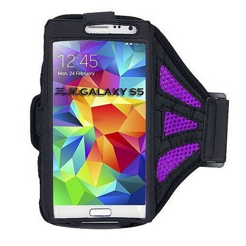 W-Deals Sports Armband Jogging Bag Gym Mobile Case Wrist Phone Pouch For Samsung Galaxy S5 Siv I9500 (Purple)