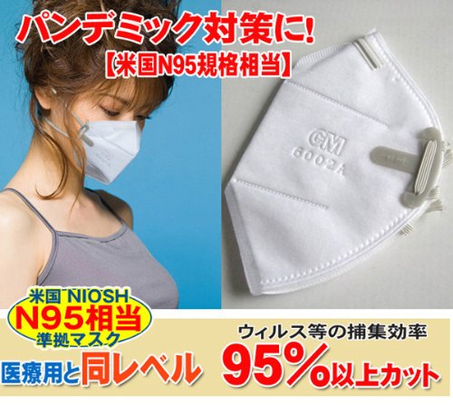【即納可能】N95企画相当 米国 NIOSH 医療用と同レベル 95%以上カット!!ウィルス対策マスク