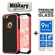 buy Sale Limited Stock,Pack Premium Heavy Duty+Tempered Glass Screen Protector Hybrid Case Iphone 6 6S Shock Absorbent Dirt/Dust/Snow Armor Protection Rubber Plastic Skin Cover Red
