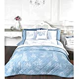 French Country Inspired Toile De Jouy Duvet Cover Set with Printed Illustrations Blue Single