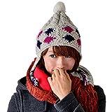 SIDAPOCYORI (シダポチョリ) 耳当て ニット帽 ウール 耳当て付き 帽子  耳まであったかいカラフルニット帽 おしゃれ レディース...
