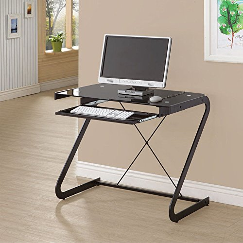 Contemporary Glass Top and X-Stretcher Metal Computer Desk with Sliding Keyboard Drawer and Z-Shaped Legs