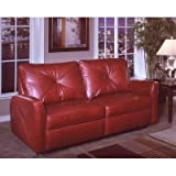 Bahama Leather Reclining Sofa Color: Softsations - Red