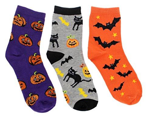 Boo! Women's Halloween Theme Crew Socks (3Pr) (Pumpkins, Bats, Black Cats) (Woman Halloween)