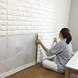 10PCS 3D Brick Wall Stickers, PE Foam Self-adhesive Wallpaper Removable and Waterproof Art Wall Tiles for Bedroom Living Room Background TV Decor (Color: White)