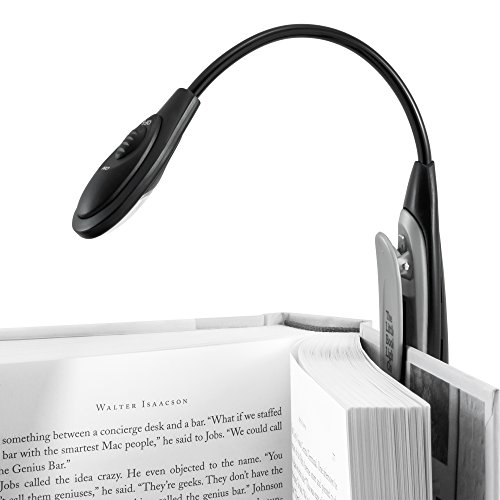 Book Light for Reading in Bed At Night with Sure Grip Clamp, Flexible Neck and Bonus Travel Bag - Best LED Clip On Lights for Kids, Study, or Hobby Craft- Fits Paperback & Hardcover Books (Grey/Black)