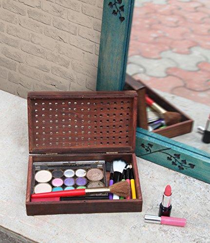 Decorative Wooden Jewelry Trinket Holder Keepsake Storage Box Multipurpose Organizer with Openworked Lid