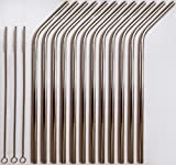 Reusable Straws - Stainless Steel Drinking - Set of 12 + 3 Cleaners - Eco Friendly, SAFE, NON-TOXIC non-plastic