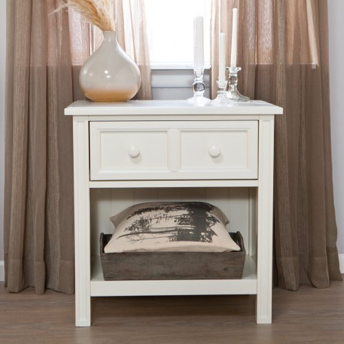 Fashion Bed Group Casey 1 Drawer Nightstand - White, White, Wood front-858669