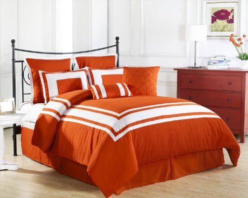 Cozy Beddings Lux Décor 8-Piece Comforter Set, Queen, Tangerine With White Stripe front-157651