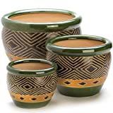 Green Ceramic Diamond Pattern Planter Set