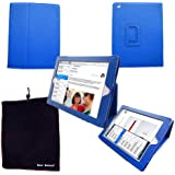 Bear Motion (TM) 100% Genuine Leather Case for iPad2 / iPad 3 / iPad 4 with built-in Stand - Support auto sleep/awake function (Blue)