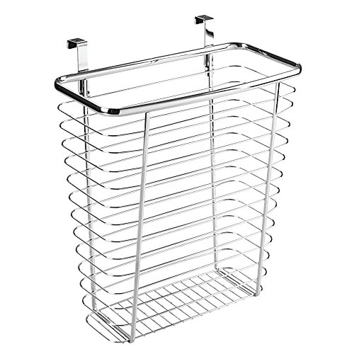 InterDesign Axis Over the Cabinet Wastebasket Trash Can or Storage Basket for Kitchen - Chrome (Over The Cabinet Trash Holder compare prices)
