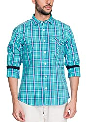 Zovi Cotton Slim Fit Casual White and Blue Checkered Shirt with Printed Placket(11925700801_Medium)