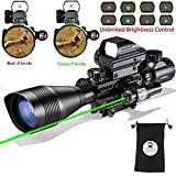 Tactical Rifle Scope for AR15 C4-12x50EG Hunting 3 in 1 Dual Illuminated with Holographic 4 Reticle Red and Green Dot Rifle Sight and Green Laser Sight for 22&11mm Weaver/Picatinny Rail Mount