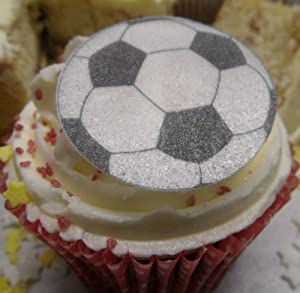 Football 1.5 Inch Edible Rice Paper Cupcake Cake ...