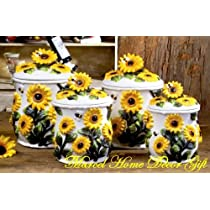 Country Sunflower 4PC CANISTER Ceramic Kitchen Decor