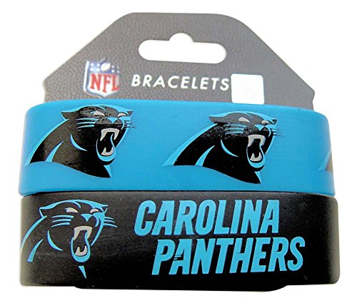 NFL Carolina Panthers Silicone Rubber Bracelet Set, 2-Pack