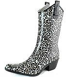 Dailyshoe's Women Western Cowboy Rainboots Mid Calf Rain Boots Footwear Shoes